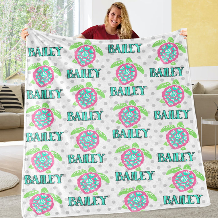 Personalized Name Turtle Fleece Blankets