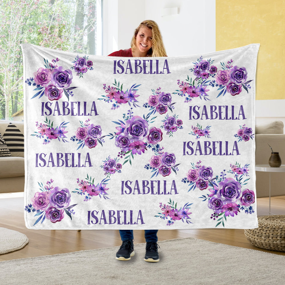 Personalized Name Purple Floral Fleece Blankets