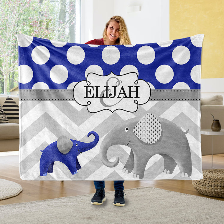 Personalized Initial & Name Blue Elephant Fleece Blankets