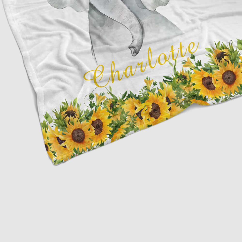 Personalized Name Baby Elephant Fleece Blankets with Sunflower