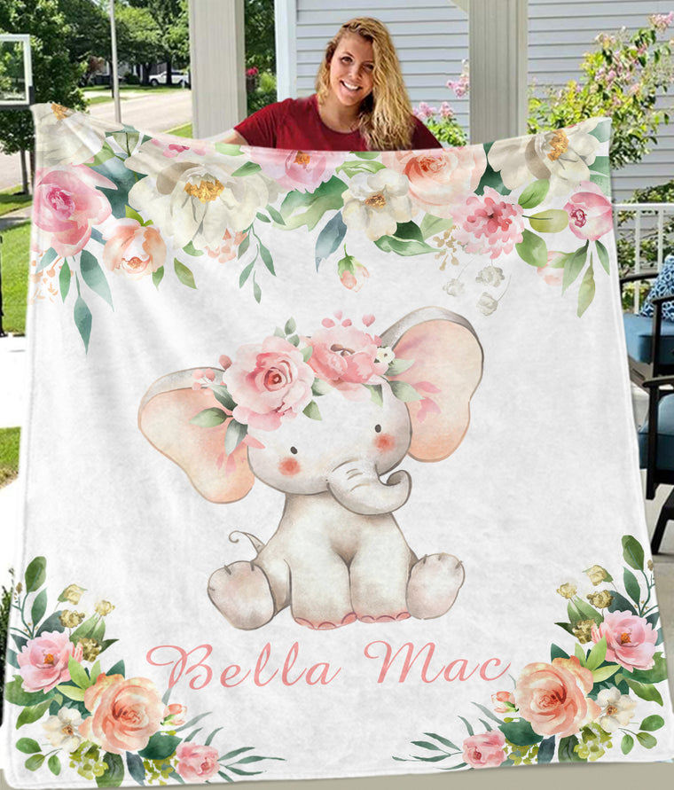 Custom Name Baby Elephant Fleece Blankets with Pink & White Flowers