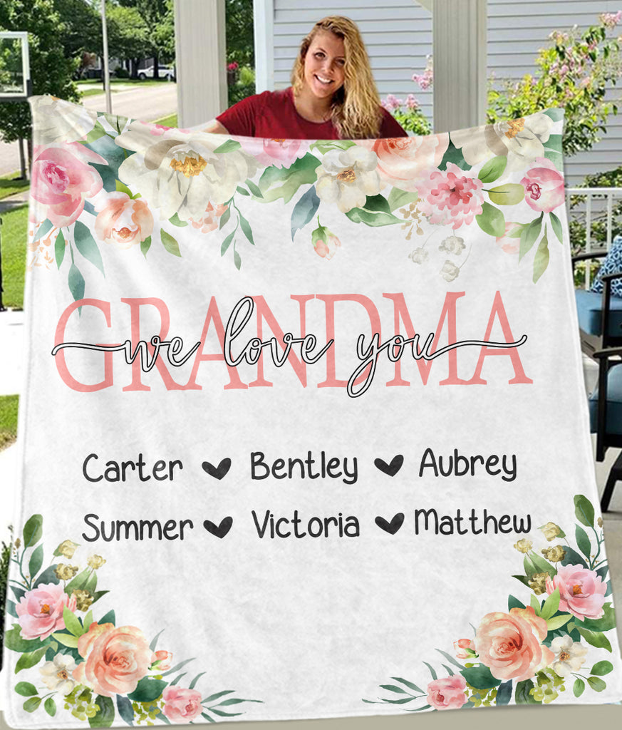 Personalized Pink & White Floral Blankets with Your Nick & Kids' Names - BUY 2 GET 10% OFF