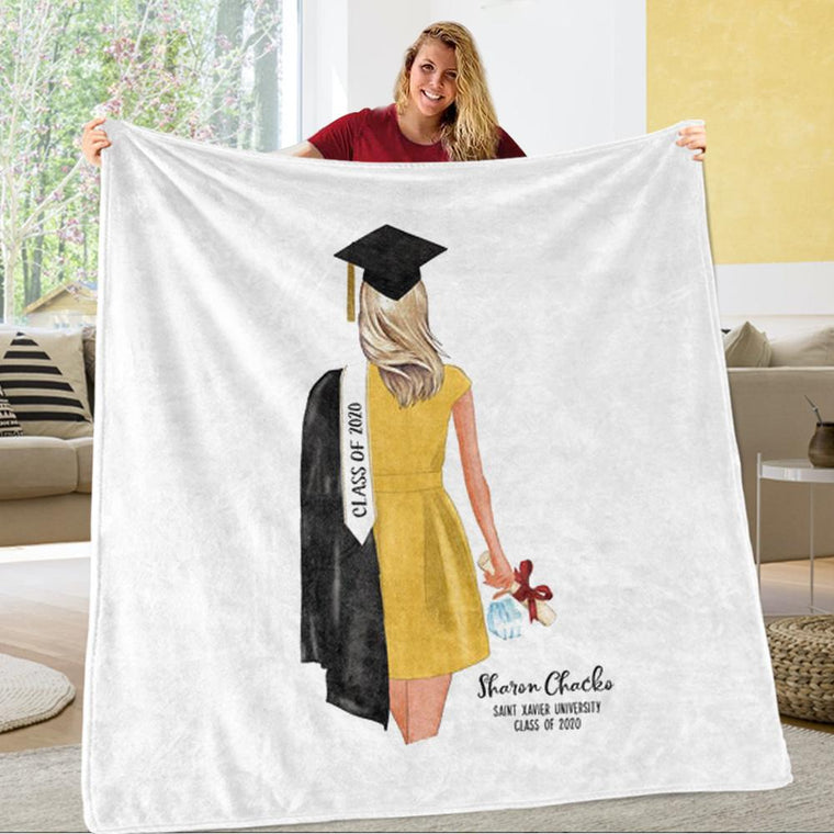 Personalized Graduation Fleece Blanket for Class Of 2020 XI