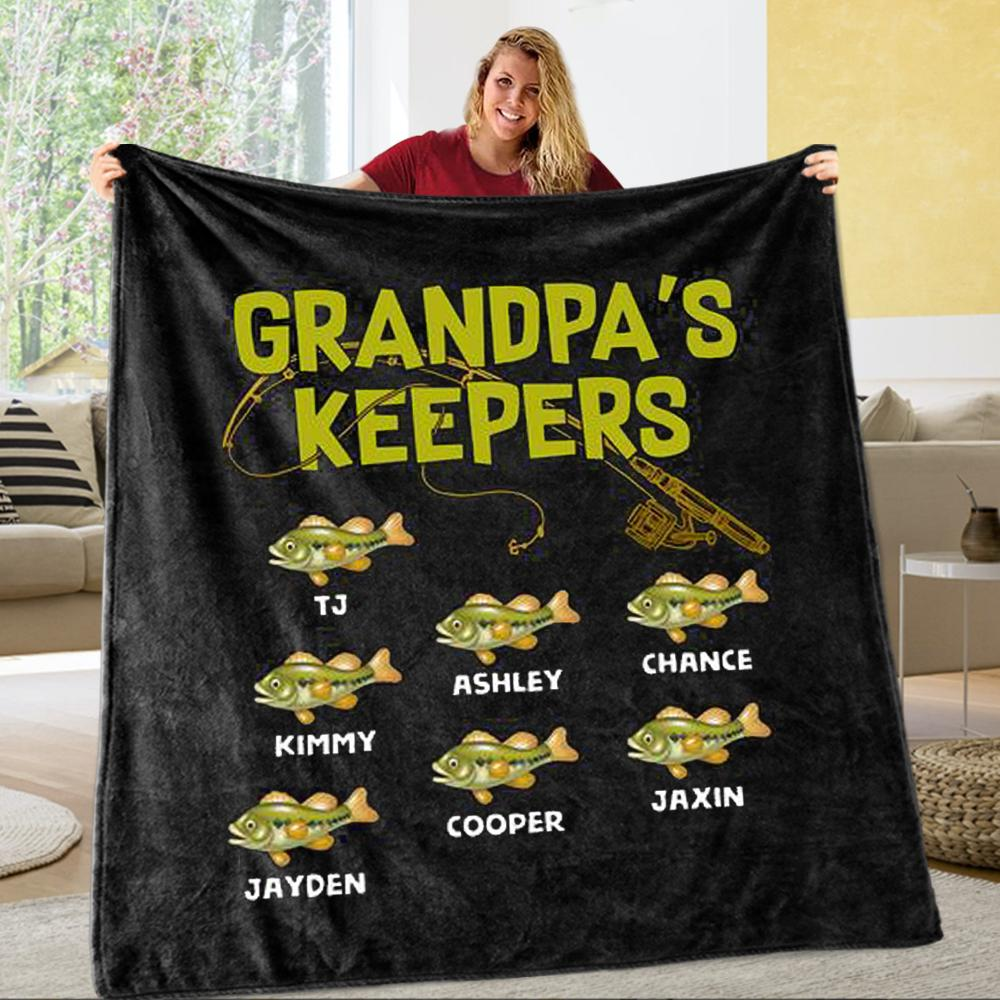 Personlized Grandpa's Keepers Father's Day Fleece Blankets with Names-BUY 2 SAVE 10%