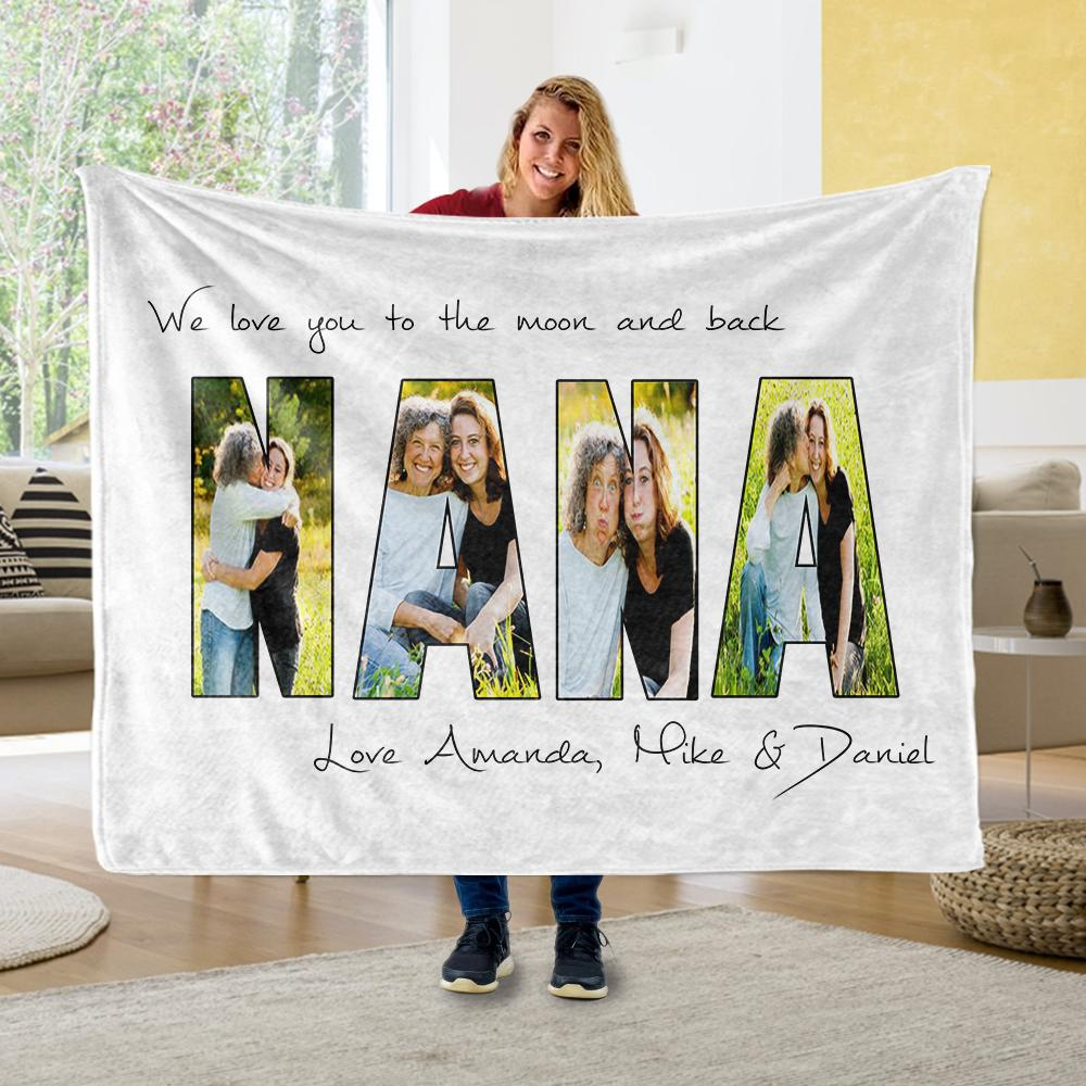 Personalized Nana Photo Collage Fleece Blanket