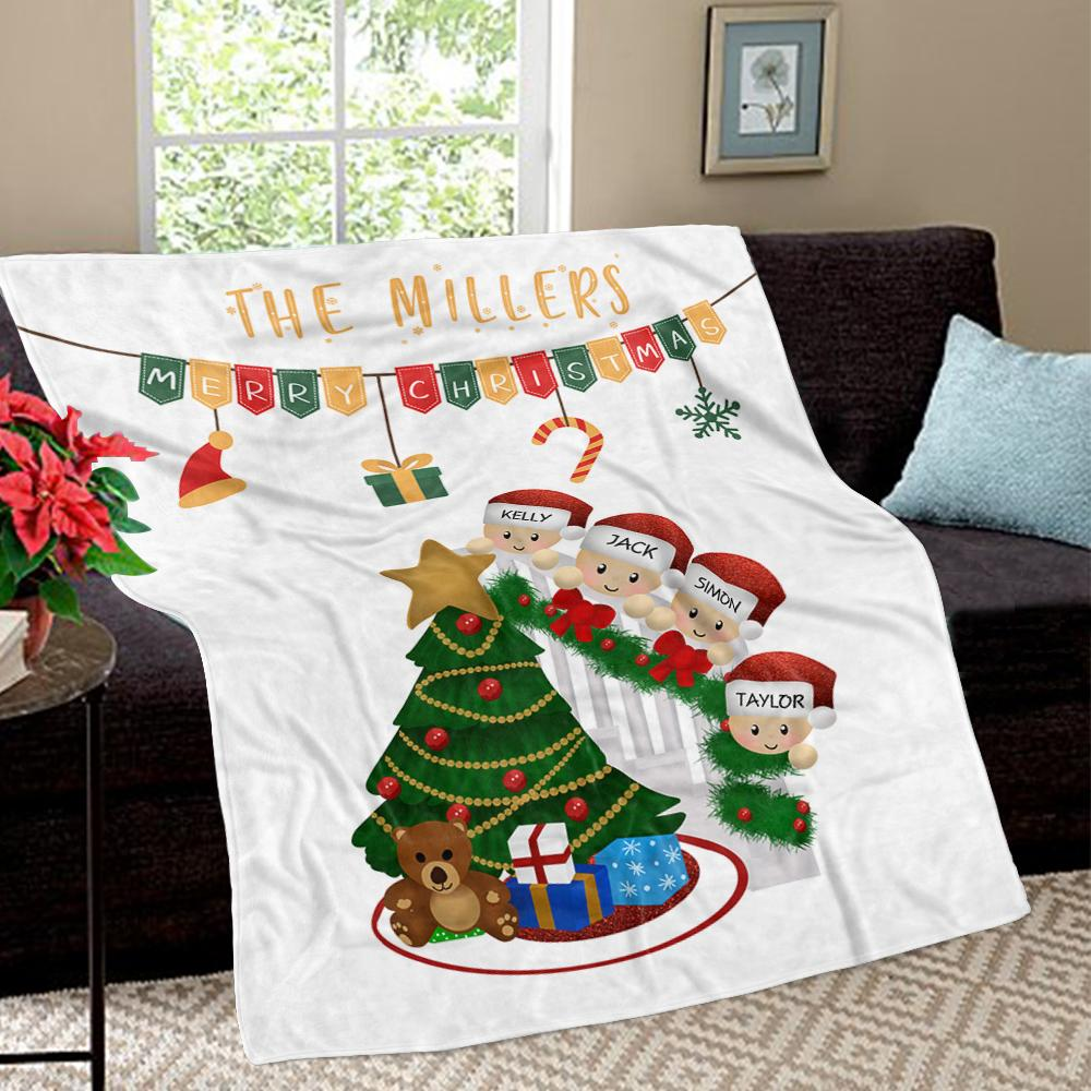 Personalized Christmas Tree and Hat Family Member's Name Fleece Blanket II