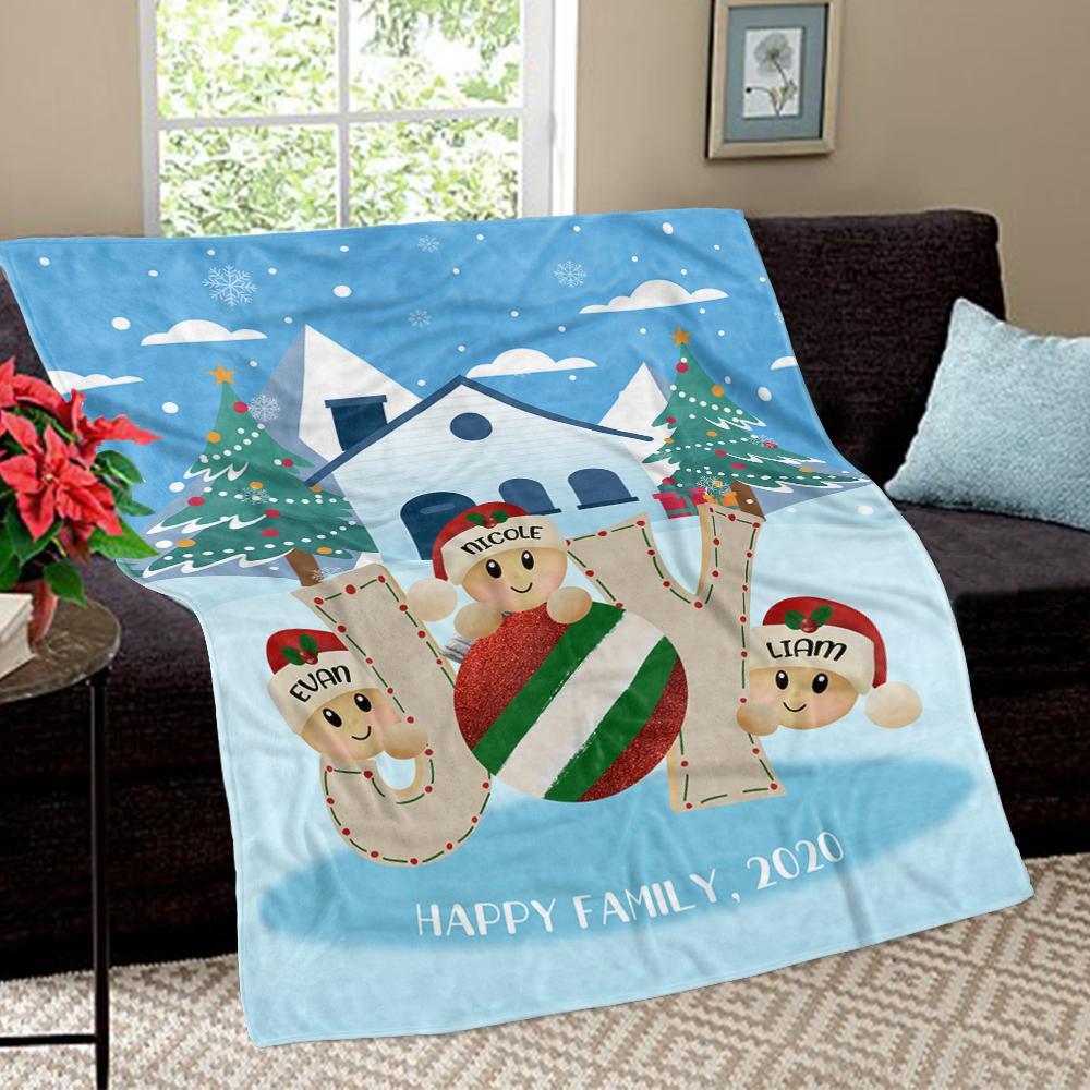 Personalized Christmas Tree and Hat Family Member's Name Fleece Blanket III