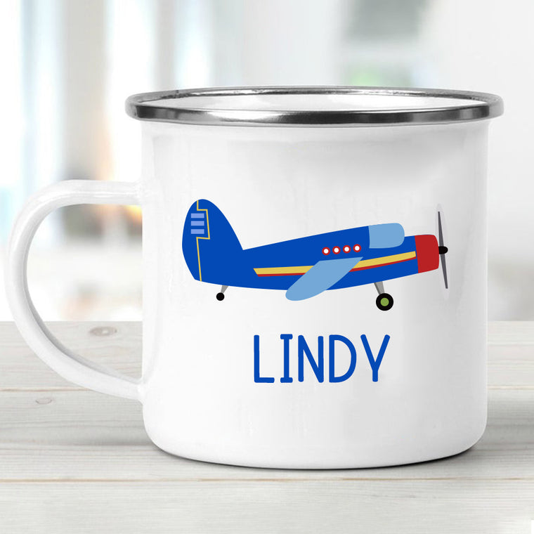 Custom Air Plane Children's Enamel Campfire Mug II
