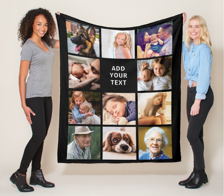 Personalized 11 Photos Collage Fleece Blanket
