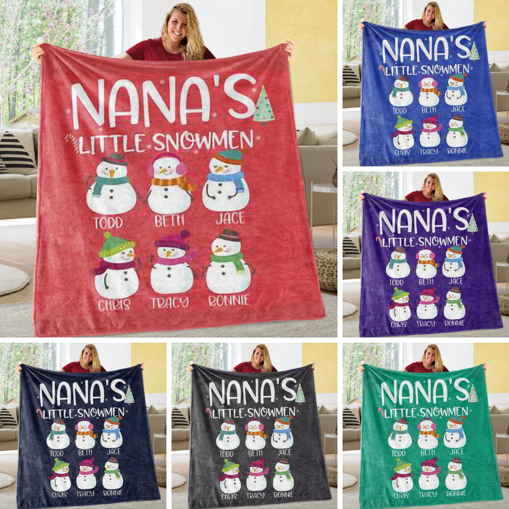 Personalized Little Snowman Christmas Family Member Fleece Blanket