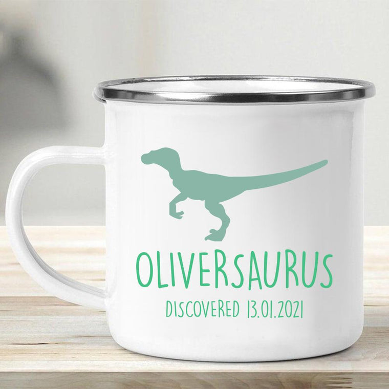 Personalized Name Dinosaur Kid's Enamel Campfire Mug II-Made in USA