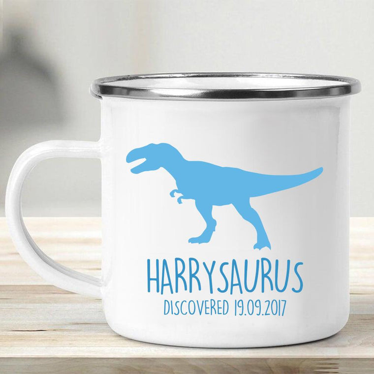 Personalized Name Dinosaur Kid's Enamel Campfire Mug VI-Made in USA