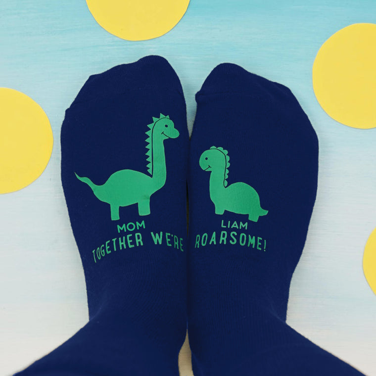 Personalized Mummy and Me Dinosaur Women's Socks II