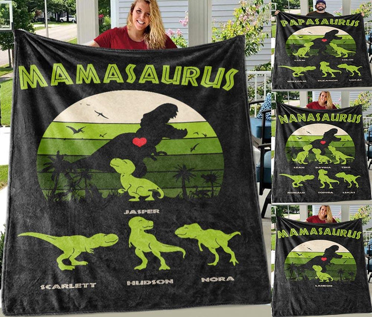 Custom Dinosaur Blanket, Family Names Blankets 03