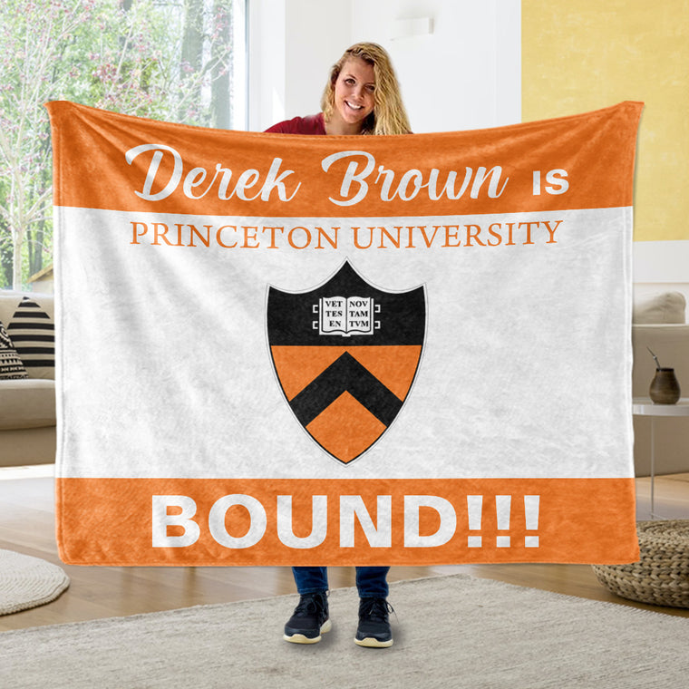 Custom Name, College Name & Logo Graduation Cozy Plush Blankets, Orange & White Background