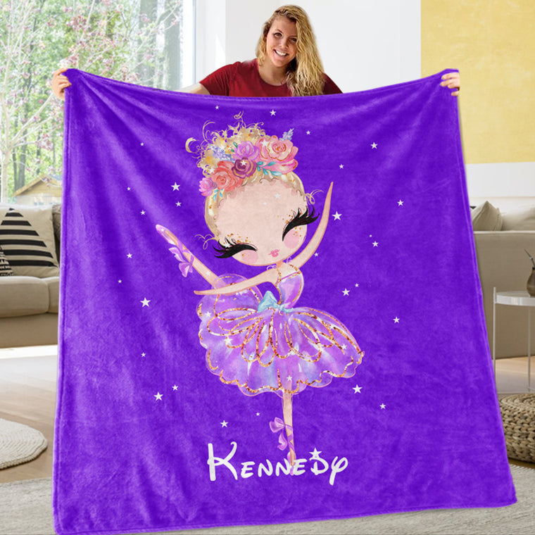 Personalized Name Dancing Girl Cozy Plush Fleece Blankets Purple