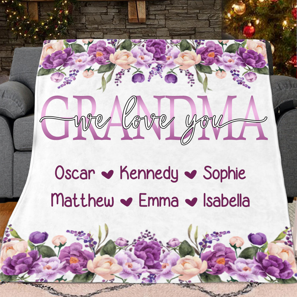 Custom Purple Floral Cozy Plush Fleece Blankets with Your Nick & Kids' Names