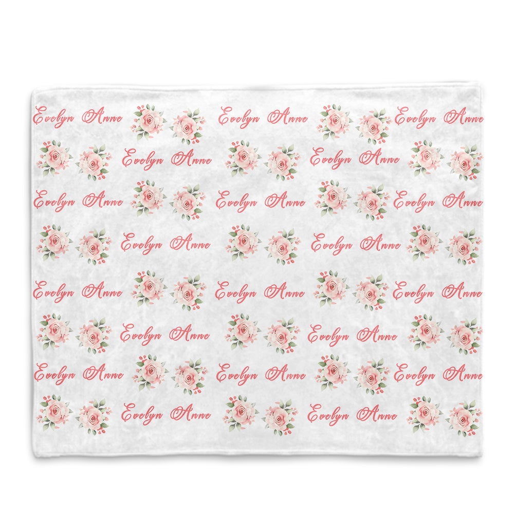Personalized Name Pink Floral Fleece Blankets - BUY 2 SAVE 10%