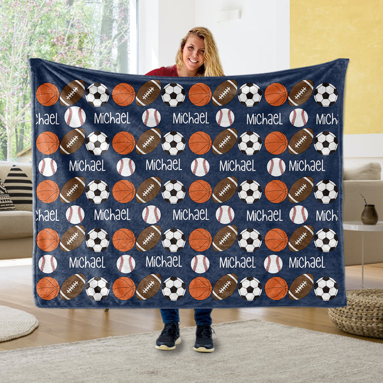 Personalized Name Sports Blankets
