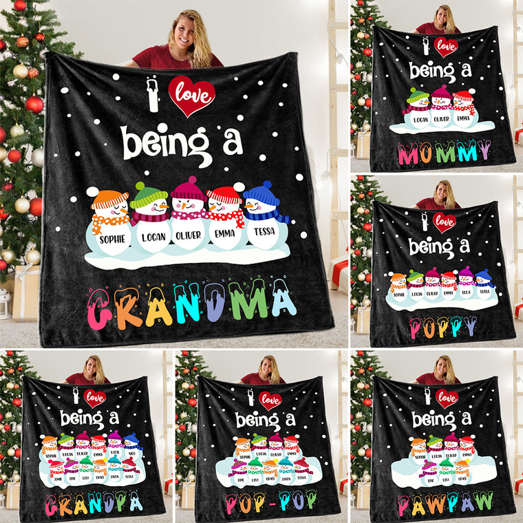 Personalized Snowmen Blanket with Grandkids' Names - BUY 2 SAVE 10%