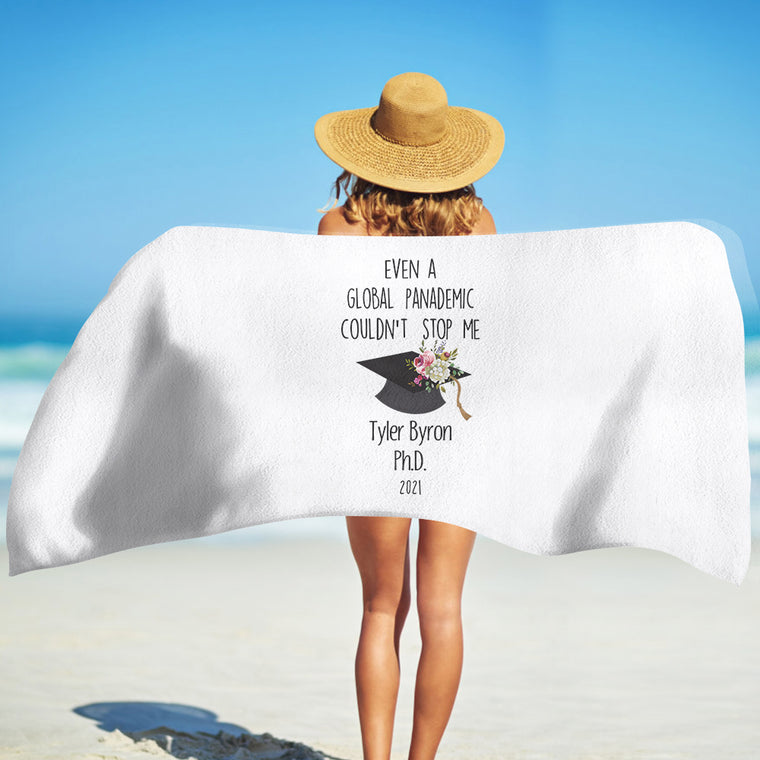 Class Of 2021 Personalized Name Graduation Beach Towel III
