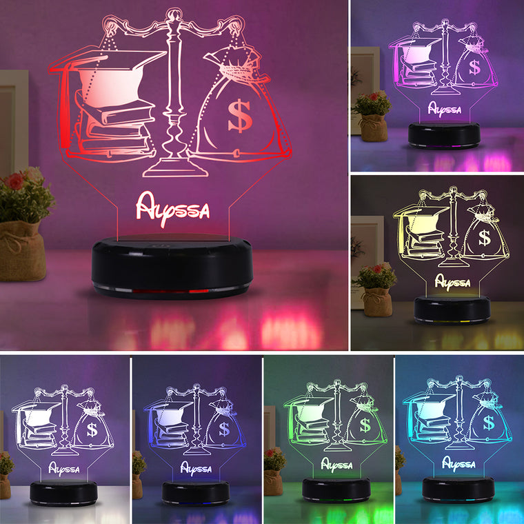 Personalized Name Graduation Justice Law School Scale Night Light