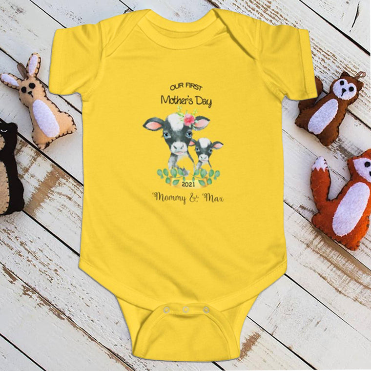 Custom First Mother's Day Infant Fine Jersey Bodysuit