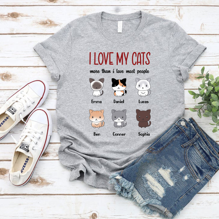 Custom I Love My Cats Unisex Heavy Cotton Tee