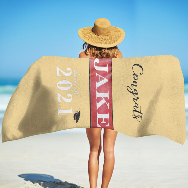 Personalized Graduation Fleece Beach Towel for Class Of 2021 I
