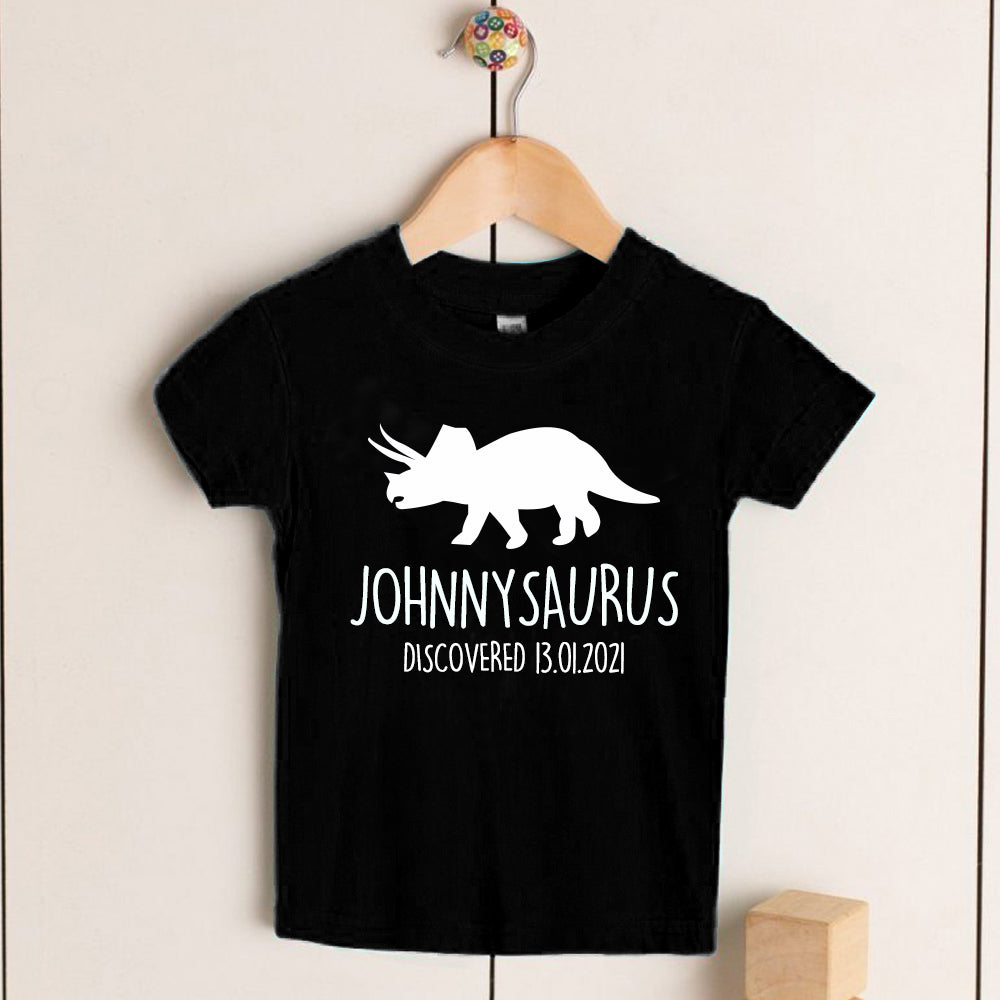 Personalised Triceratops Kids Dinosaur T-Shirt, Birthday Gift for Your Children