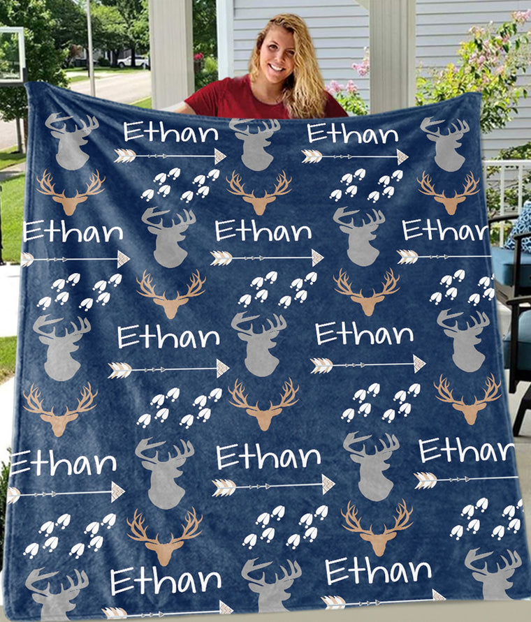 Custom Name Deer Cozy Plush Fleece Blanket