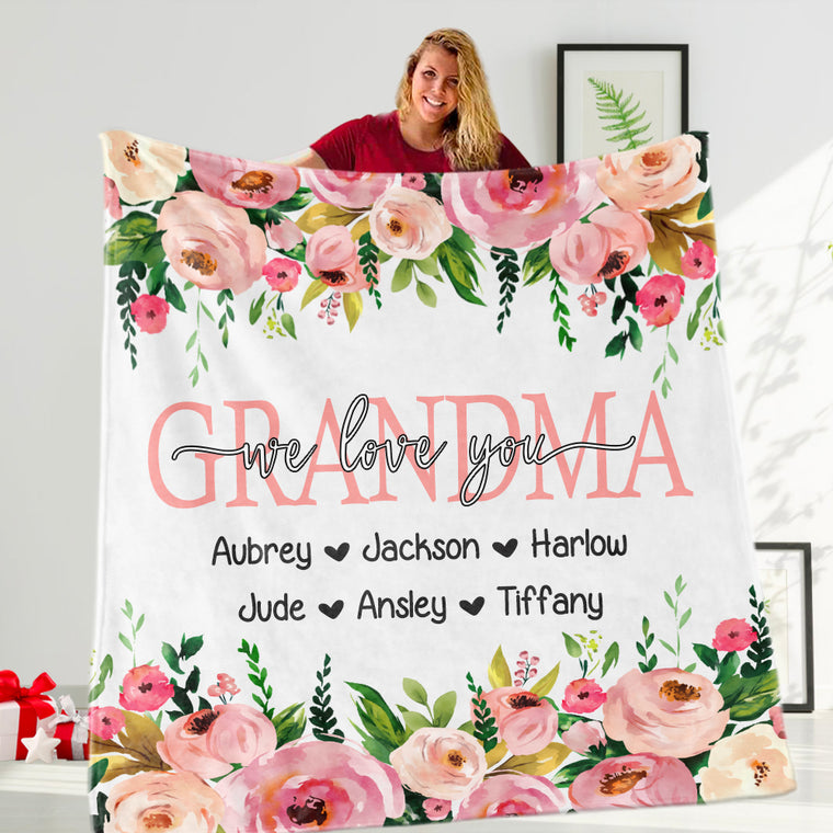 Custom Pink Floral Mother's Day Cozy Plush Fleece Blankets
