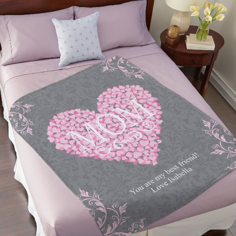 Custom Mother's day Fleece Blanket For Mom And Grandma