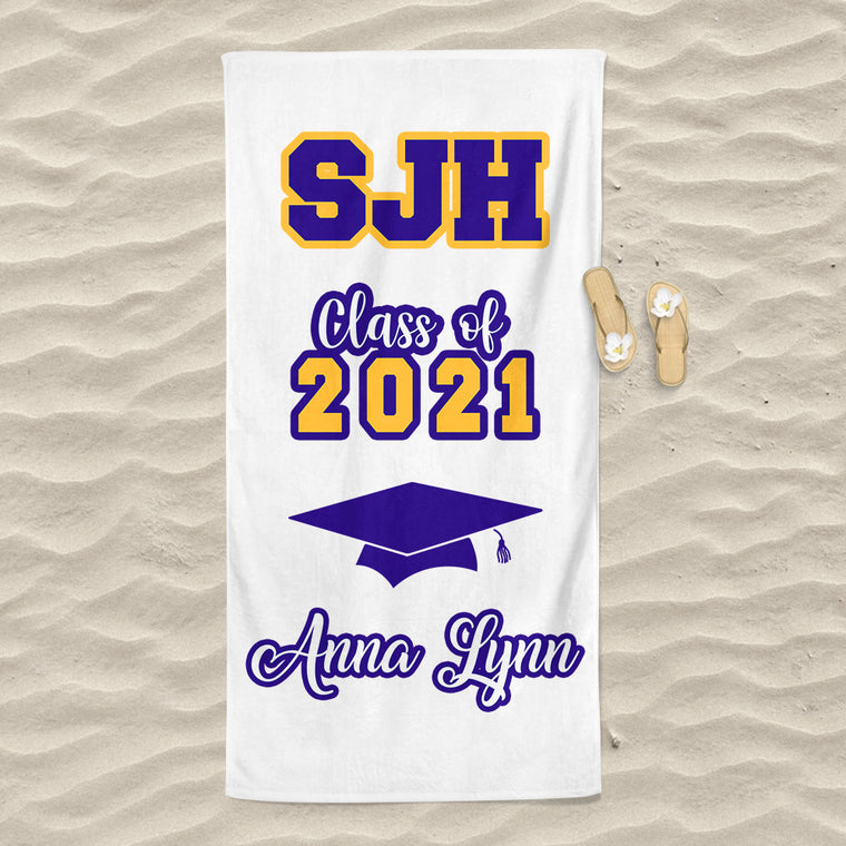 Class Of 2021 Personalized Name Graduation Beach Towel VII