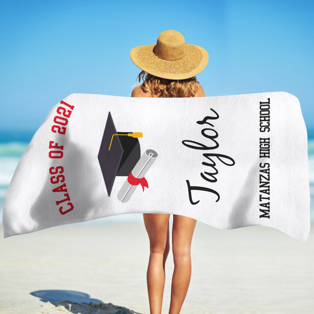 Class Of 2021 Personalized Name Graduation Beach Towel VI