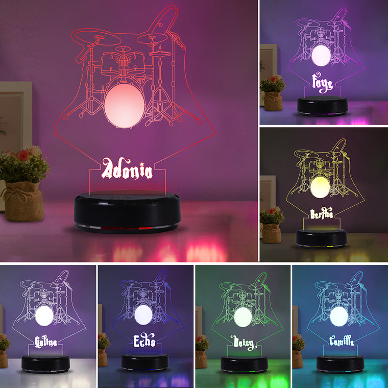 Custom Name Drum Set Acrylic Night Lights