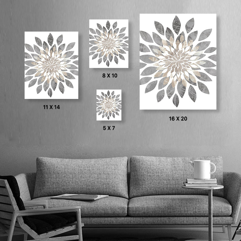 Relax Soak Unwind Flower Bursts Bathroom Canvas Wall Art Set