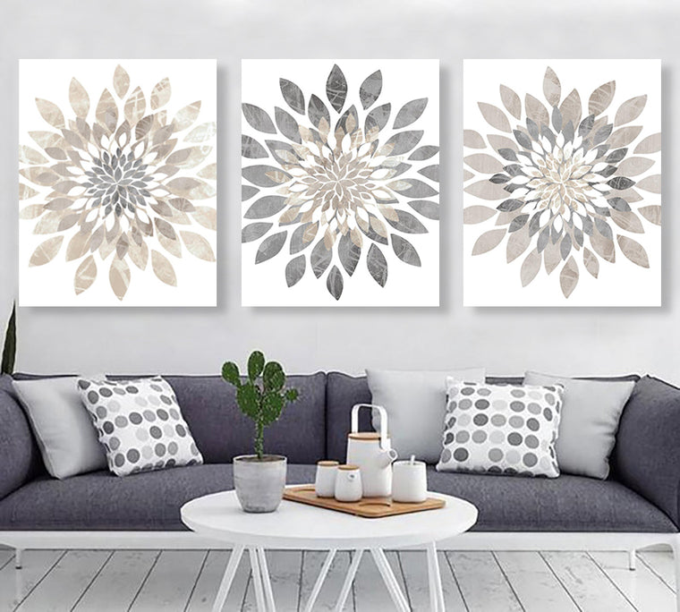 Modern Flower Bursts Wall Art Set - BUY 2 SAVE 10%