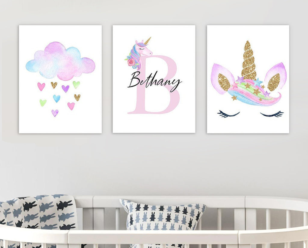 Personalized Initial & Name Unicorn Girls Bedroom Canvas Wall Art
