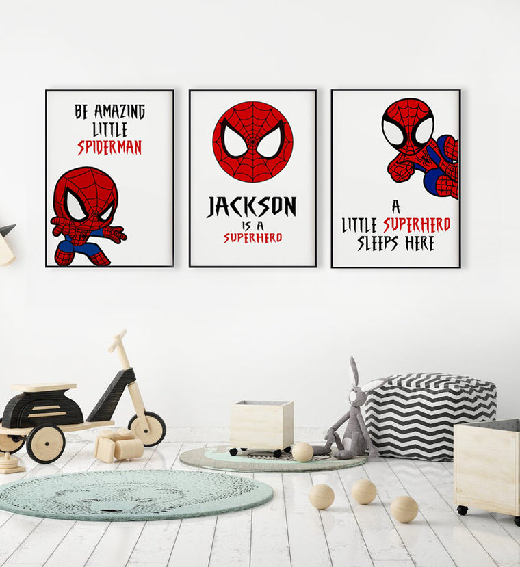 Personalized Name Spider Boys Bedroom Canvas Wall Art