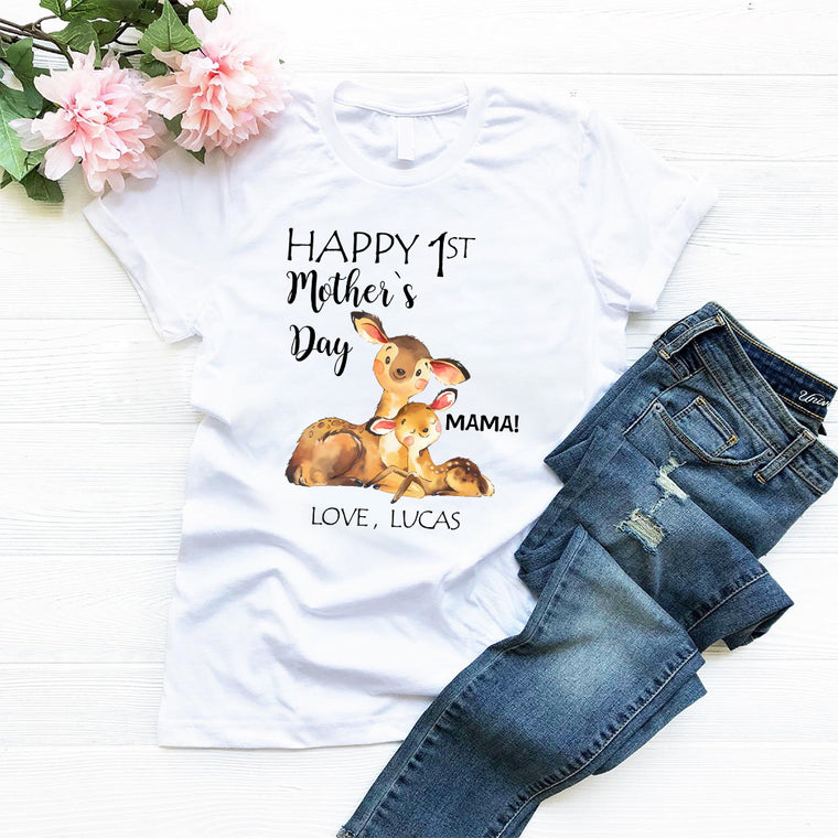 Custom Deer Mother's Day Mom Tee