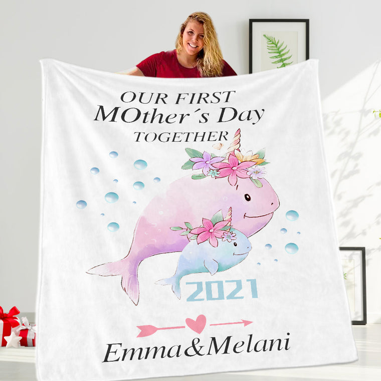 Personalized Mama Dolphin Baby Cub Cozy Plush Fleece Blankets