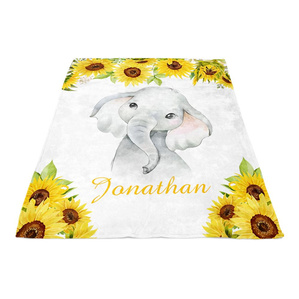Personalized Name Baby Boy Elephant Fleece Blankets with Sunflower