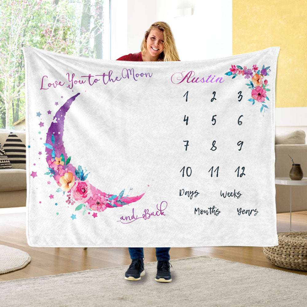 Personalized Baby Miletone Blankets, Baby Girl Monthly Milestone Blankets, Personalized Name Blankets