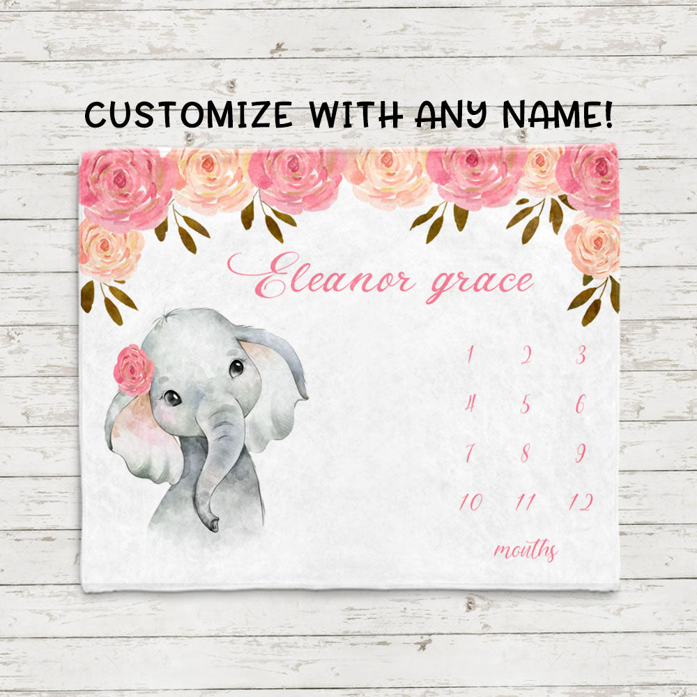 Personalized Name Baby Girl Elephant Fleece Blankets with Pink Flowers