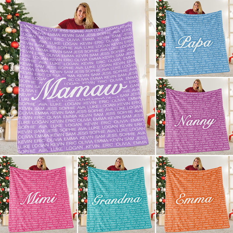Custom Cozy Plush Fleece Blanket with Nickname & Kids Names