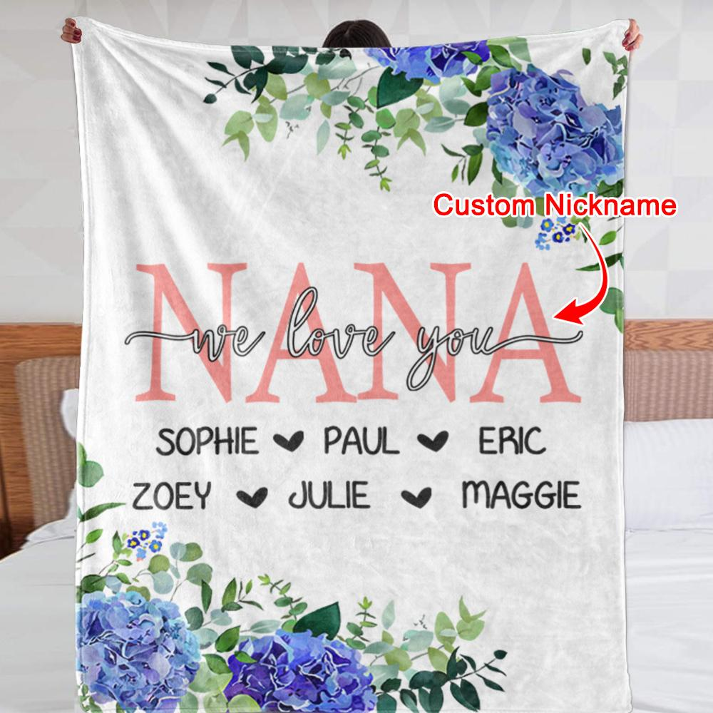 Custom Blue Floral Cozy Plush Fleece Blankets with Your Nick & Kids' Names - BUY 2 SAVE 10%