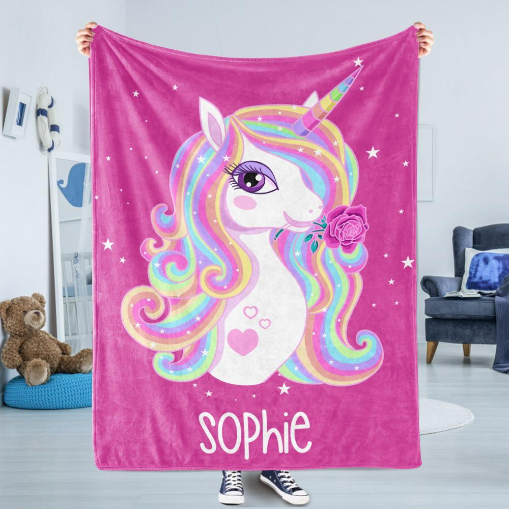 Personalized Magical Unicorn Fleece Blanket - 3 Colors Available