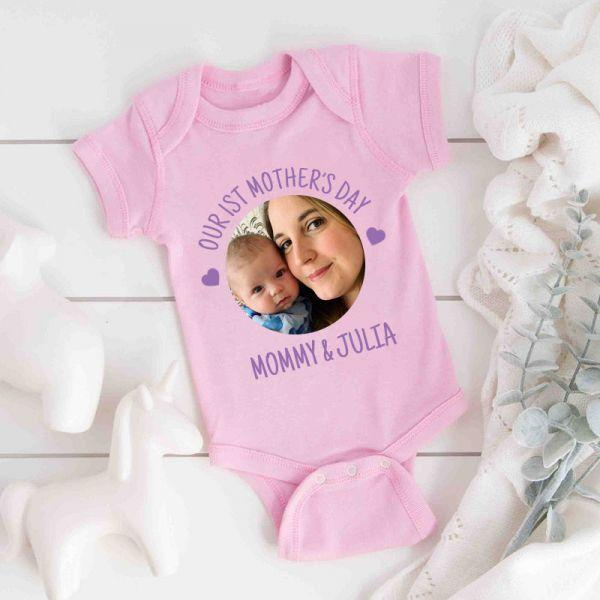 Custom Photo Mother's Day Baby Onesies and Matching Mom Shirts