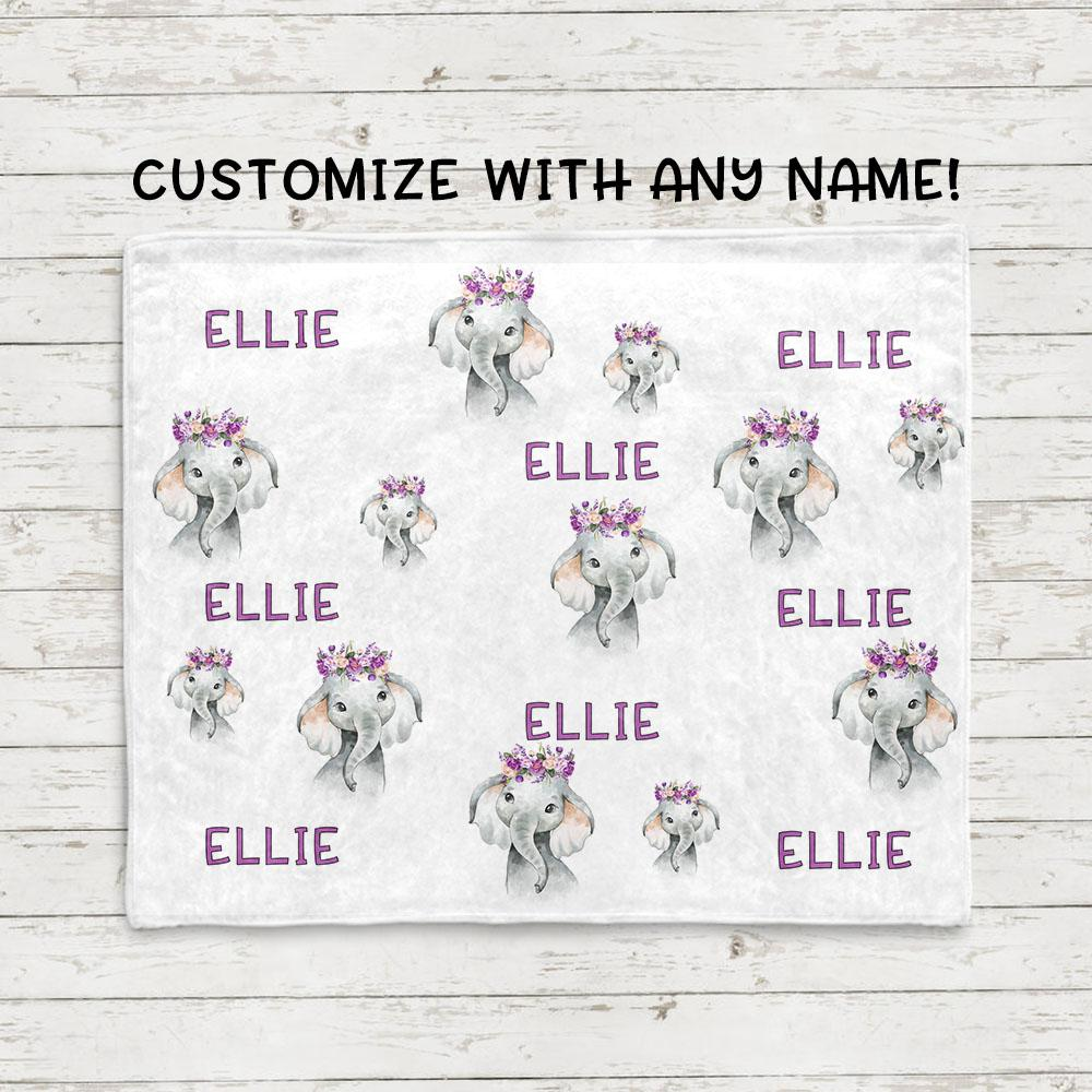 Custom Name Purple Floral Elephant Fleece Blankets